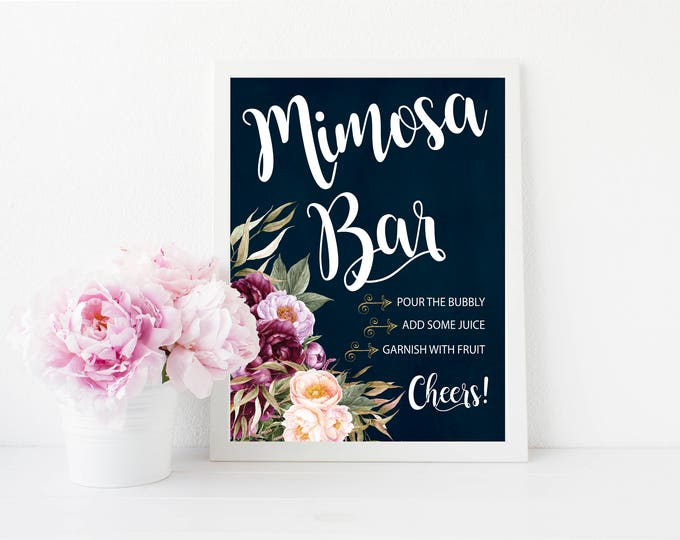 "Mimosa Bar Sign 8x10""  // Momosa Bar // Mimosas // Burgundy // Gold // Floral // Navy // Made to Match our FLORENCE COLLECTION"