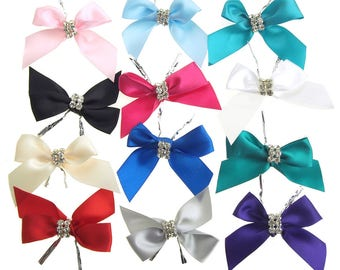 Pre-Tied Satin Bows with Rhinestones Gift Favors