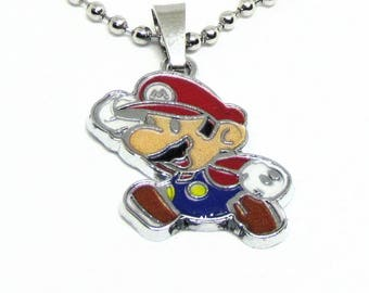"""Mario Necklace 18"""" Stainless Steel Ball Chain"""