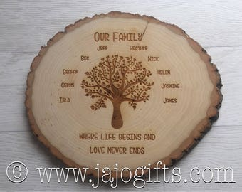 Engraved personalised family tree on log slice perfect wedding, new home, Mother's Day or gift for a mum or grandmother