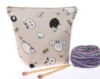 knitting bag sheep wedge zipper project bag, mega mouth opening knitting crochet WIP bag, yarn bowl tote bag, girlfriend gift, gift for her