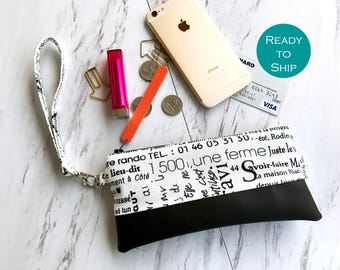 Black and White Vegan Leather Wristlet - Wristlet Wallet - Smartphone Wristlet - Faux Leather Wristlet - Vegan Leather Clutch Bag