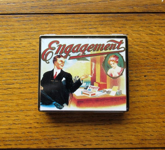 DoDo Designs LTD Cigarette Tin Box Engagement Made In England 1980