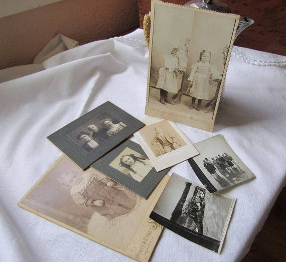 Vintage Family Portrait Photos Lot Plus Two Snapshots Beach and Snow