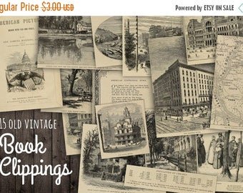 40% OFF SALE Antique Book Clippings Paper Set INSTANT Download - Antique Paper Drawings Illustrations Scraps Pieces - Digital Paper Set - Pr