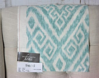 Fabric By The Yard // Jaclyn Smith 0311709 Patina // Aqua Chevron  // Zig Zag Fabric