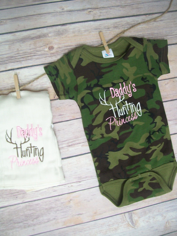 Embroidered onesie Baby boy hunting onesie Baby girl hunting