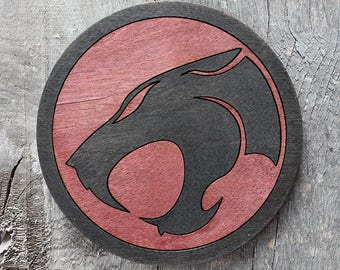 Thundercats Logo Wood Coaster | Rustic/Vintage | Hand Stained and Glued