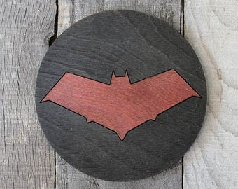 Red Hood Wood Coaster | Rustic/Vintage | Hand Stained and Glued | Comic Book Gift | Jason Todd
