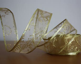 Gold Wired Edge Ribbon With Glitter