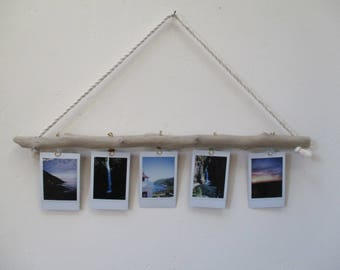 """Driftwood Polaroid  INSTAX or School Photo Holder Wall Display with Sea Glass  """"Nautical Style"""""""