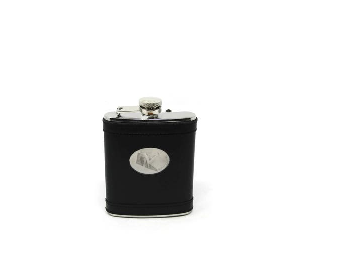 Vintage Leather Wrapped Flask - Sheridan No Tarnish Black Leather Flask - Groomsmen Gift - Gift for Dad - Gift for Him - Ideas