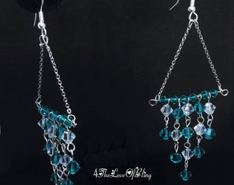 Gorgeous Chandelier Earrings made with Swarovski Crystals, stainless steel chain and Nickel free / silver plated earring findings