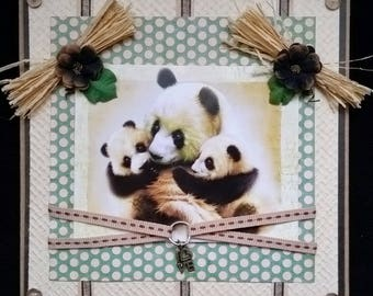 card scrap, MOM and baby panda
