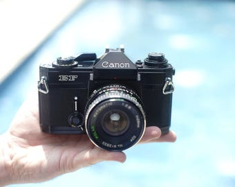 Canon EF Black - Vintage SLR Camera -  Working Condition - with 28mm 2.8 Lens