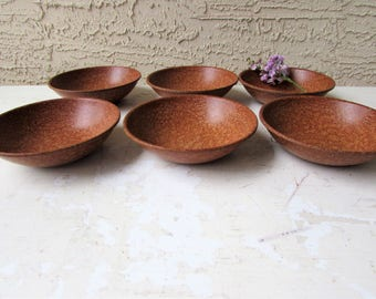 6 Small Boltalite  Bowls - Mid Century Modern - Melmac- Melamine - Faux Wood - Dessert Bowls - Snack Bowls - Classic Kitchen -
