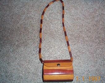vintage Mahogany wooden purse  varigated wood