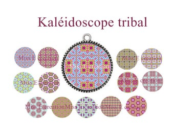 Tribal Kaleidoscope print of digital images for cabochon 25mm and 20mm and 18mm