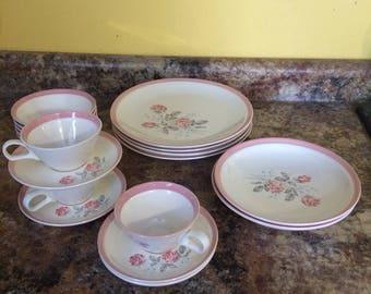 Vintage set Cunningham & Pickett Dixie Rose Dinnerware
