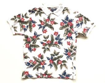 Chaps Ralph Lauren polo golf shirt short sleeve button up shirt white floral shirt size mens large 100% cotton collar