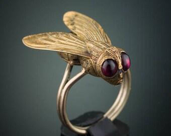 Victorian natural almandine garnet fly ring