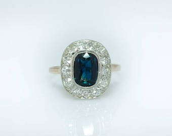 Art Deco 2.60 Ct natural sapphire and 1.44 Ct diamond halo ring