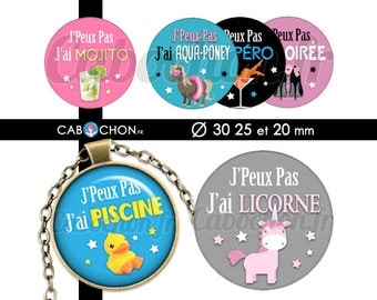 I can not I • 45 Images Digital mojito Unicorn aqua pony round 30 25 and 20 mm bookmark page mojito Unicorn pony pool aqua