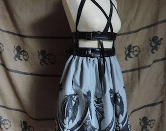 Harness skirt, elastic band, strap, gothic bat print
