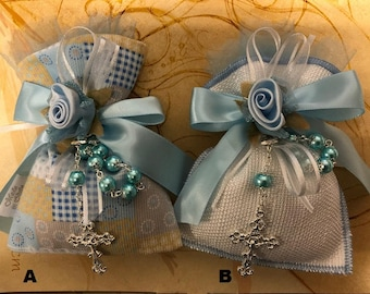 Baptism Christening Baby shower favor bag almond favor with rosary Bomboniere Made in Italy Jo01