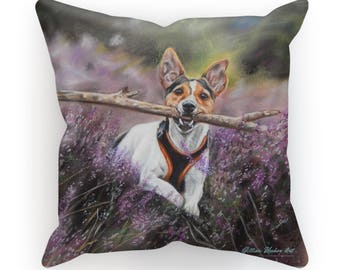 Linen Jack Russell Terrier Cushion
