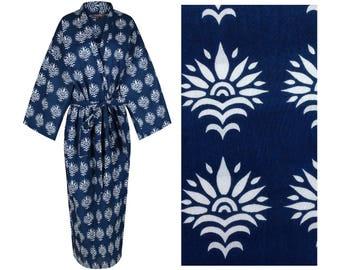 Kimono Robe Cotton Dressing Gown Blue Bathrobe for Women - Lightweight Cotton Dressing Gown - Women's Bathrobe - 100% Cotton Bathrobe.