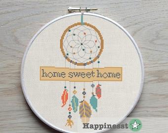 cross stitch pattern dreamcatcher, home sweet home,modern cross stitch, native american, teal-orange, PDF pattern ** instant download**