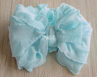 Messy Ruffle Bow Headband - Sky Blue