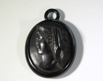 Antique Carved Jet Mourning Cameo Pendant