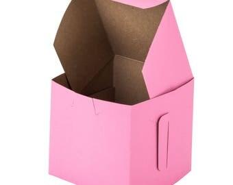 30 Pink Bakery Single Cupcake Box 4 x 4 x 4 Gifts Wedding Party Favor Box