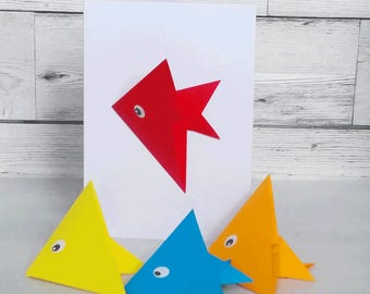 Greetings Card - Fish- removeable origami fish birthday, get well soon, hello, mothers day, bookmark