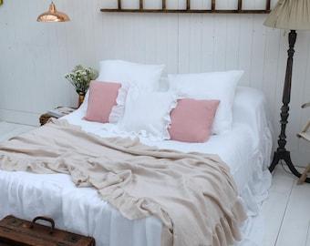 ruffle blanket linen blanket ruffled bedspread bed throw french linen bedding