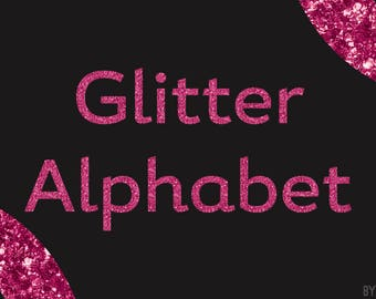 Pink Glitter Alphabet Clipart 81 Images PNG Files Letters Numbers Special Characters Commercial Use Graphics Digital Clip Art Set 10