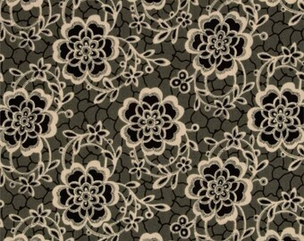 Andover Fabrics - Downton Abbey Collection - Quilting Cotton - Dowager Countess Floral Black Gray Tan Cream