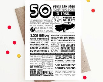 Personalized 50th Birthday Card, 1968 Facts and Events - Custom Design