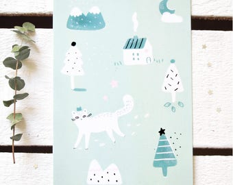 "Postcard ""Fëlis silvëstris, the wild snow cat"" - Illustration / Winter - Christmas - Greeting card / Woodland - Forest - Nature/ Pastel-Mint"