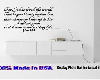 John 3:16 For God So loved the World Inspirational Wall Quote Saying Removable Art Sticker Vinyl Decal. Mirror Wall Room Decor Door Home