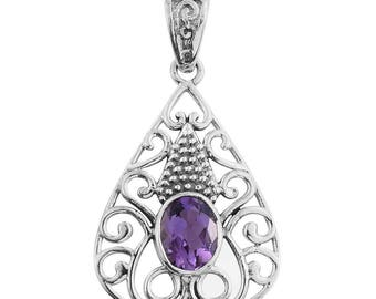 Amethyst Oval Sterling Silver Pendant without Chain TGW 1.70 cts.