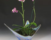 Splash Bowl, Orchid Pot in Purple, Pink and Blue Crystalline Glaze, Hand Built Porcelain Vessel with Root Ventilation Holes. 6.5 in tall.