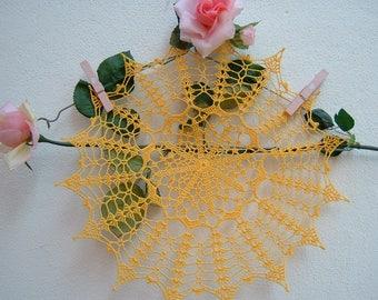 Centrino Lace Crochet-yellow cotton center-Romantic house decoration-handmade crochet-colored centerpieces