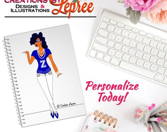 "Notebook: Light-Skinned Lepree Casual ""Z-Stance"" White Jean Fashion Character Illustration Sorority Spiral Notebook"