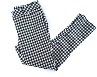 Black and White Checkered Gingham Plaid Pants