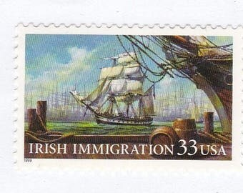 Qty of 10  Irish Immigration 33 cent vintage postage stamps, These stamp are in excellent unused condition.