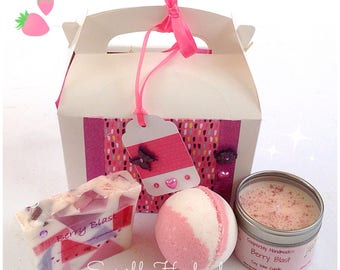 Berry Blast Gift Box, containing Berry scented soap, candle, and bath bomb, handmade with love