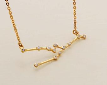 SALE 30% OFF - Taurus Necklace - Zodiac Necklace - Zodiac Signs - Taurus Necklace - Constellation Necklace with Stone- Birthday Gifts